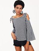 baratos Camisetas Femininas-Mulheres Camisa Social - Para Noite Estampado, Quadriculada Solto / Verão / Outono / Sexy
