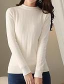 זול חולצה-אחיד - סוודר רזה שרוול ארוך צווארון עגול קצר ליציאה בגדי ריקוד נשים