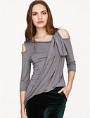 tanie Topy damskie-T-shirt Damskie Moda miejska Wyjściowe Na jedno ramię Solidne kolory / Wycięcie