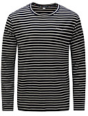 ieftine Maieu & Tricouri Bărbați-Bărbați Rotund Tricou Bumbac Dungi Imprimeu / Manșon Lung / Toamnă