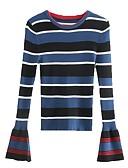 זול טרנינגים וקפוצ'ונים לנשים-פסים - סוודר שרוול התלקחות בגדי ריקוד נשים