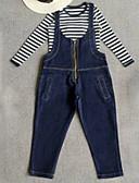 povoljno Haljine za djevojčice-Djeca Djevojčice Osnovni Jednobojni Kratkih rukava Poliester Komplet odjeće Plava 140