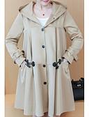 ieftine Paltoane Trench Femei-Pentru femei Zilnic Mărime Plus Size Lung Haină Trench, Mată Capișon Manșon Lung Poliester Negru / Kaki XXXL / 4XL / XXXXXL