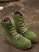 hesapli Kadın Kapşonluları-Kadın's Çizmeler Fashion Boots Düz Taban Yuvarlak Uçlu Süet Bootiler / Bilek Botları Sonbahar Kış Kırmzı / Yeşil / Haki