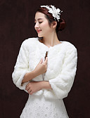 cheap Mother of the Bride Dresses-3/4 Length Sleeve Faux Fur Wedding / Birthday Women's Wrap With Patterned Coats / Jackets