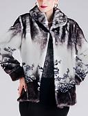 cheap Women's Fur & Faux Fur Coats-Women's Holiday / Going out Street chic / Sophisticated Plus Size Fur Coat - Floral Print, Print