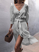 cheap Dresses For Date-Women's Shirt Dress - Solid Colored V Neck