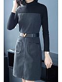 baratos Vestidos de Coquetel-Mulheres Para Noite Evasê Vestido Gola Alta Cintura Alta Acima do Joelho