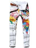 tanie Męskie spodnie i szorty-Męskie Moda miejska Bawełna Szczupła Typu Chino Spodnie - Nadruk, Geometric Shape
