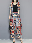 povoljno Ženski dvodijelni kostimi-Žene Ulični šik / Sofisticirano Set - Geometrijski oblici / Karirani uzorak Hlače