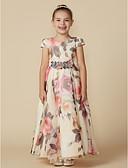 hesapli Çiçekçi Kız Elbiseleri-A-Şekilli Taşlı Yaka Bilek Boyu Şifon Kurdeleler / Çiçekli ile Çiçekçi Kız Elbisesi tarafından LAN TING BRIDE®