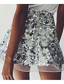 tanie Sukienki-Damskie Wyrafinowany styl Linia A Spódnice - Kij Solidne kolory Czarno-czerwony, Cekiny / Seksowny / Luźna