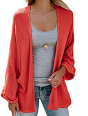 cheap Women's Sweaters-Women's Going out Solid Colored Long Sleeve Regular Cardigan, Stand Purple / Wine / Light gray L / XL / XXL