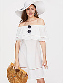 cheap Print Dresses-Women's Off Shoulder Daily Loose Shift Dress - Solid Colored Boat Neck Summer White Light Blue M L XL / Ruffle