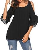 ieftine Cămașă-bluza pentru femei - gât rotund solid colorat