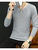 tanie Męskie swetry i swetry rozpinane-Męskie Wyjściowe Solidne kolory Długi rękaw Regularny Pulower, Okrągły dekolt Szary / Jasnobrązowy / Khaki XL / XXL / XXXL