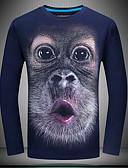 baratos Vestidos Femininos-Homens Camiseta Vintage Animal