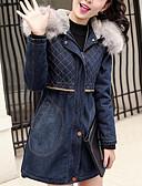 رخيصةأون فساتين طويلة-L / XL / XXL أزرق مع قبعة بوليستر, Parka سترة طويلة قياس أساسي ستاندرد كم طويل لون سادة مناسب للبس اليومي نسائي