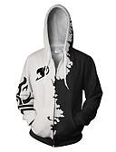 voordelige Herenhoodies & Sweatshirts-Heren Grote maten Ruimvallend Broek - 3D Print Wit / Capuchon / Lange mouw / Herfst / Winter