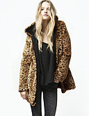 cheap Women's Pants-Women's Street chic Fur Coat - Leopard