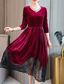 tanie Sukienki-Damskie Moda miejska / Elegancja Pochwa / Swing Sukienka - Kolorowy blok, Koronka / Patchwork Midi