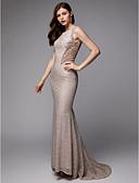 זול שמלות ערב-מעטפת \ עמוד עם תכשיטים שובל סוויפ \ בראש תחרה / טול / נצנצים נוצץ וזוהר ערב רישמי שמלה עם חרוזים / נצנצים על ידי TS Couture®