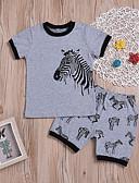 preiswerte Kleidersets für Jungen-Kinder / Baby Jungen Grundlegend Alltag / Festtage Druck Druck Kurzarm Standard Standard Baumwolle Kleidungs Set Grau 110