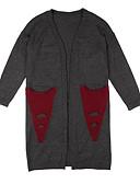 זול חולצה-גיאומטרי / קולור בלוק - קרדיגן רזה שרוול ארוך ליציאה בגדי ריקוד נשים