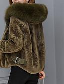 cheap Women's Fur & Faux Fur Coats-Women's Daily Regular Fur Coat, Solid Colored Hooded Long Sleeve Others Black / Beige / Army Green XL / XXL / XXXL