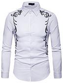 billige Herreskjorter-Skjorte Herre - Ensfarget / Fargeblokk, Broderi Forretning / Grunnleggende