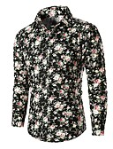 cheap Men's Shirts-Men's Basic Cotton Shirt - Floral / Color Block / Long Sleeve