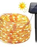 olcso Férfi pólók és atléták-ZDM® 10 m Fényfüzérek 100 LED SMD 0603 1A rögzítő tartóelemet állítsa be Meleg fehér / Hideg fehér / Kék Vízálló / Nap- / Karácsony Solarno napajanje / 2 V 1set / IP65