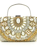 cheap Wedding Dresses-L.WEST® Women's Bags Polyester / Alloy Evening Bag Beading / Crystals Floral / Botanical White