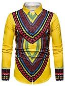 abordables Camisas de Hombre-Hombre Camisa Tribal Rojo L / Manga Larga