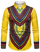 رخيصةأون قمصان رجالي-رجالي قميص ترايبال أحمر L / كم طويل