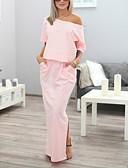 abordables Vestidos de Novia-Mujer Básico Recto Vestido - Retazos, Un Color Maxi