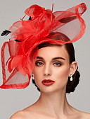 cheap Party Headpieces-Feather / Net Fascinators / Headpiece with Feather / Floral / Flower 1pc Wedding / Special Occasion Headpiece