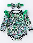 Χαμηλού Κόστους The Freshest One-Piece-Μωρό Κοριτσίστικα Βασικό Στάμπα Μακρυμάνικο Πολυεστέρας Κορμάκι Πράσινο του τριφυλλιού / Νήπιο