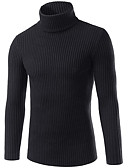 cheap Men's Sweaters & Cardigans-Men's Going out Solid Colored Long Sleeve Slim Regular Pullover, Turtleneck Navy Blue / Gray / Wine XL / XXL / XXXL