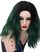 abordables Velos de Boda-Wig Accessories Mujer Rizado Verde Corte a capas Pelo sintético 16 pulgada Diseños de Moda Verde Peluca Corta Sin Tapa Negro / verde oscuro