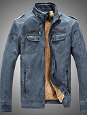 cheap Men's Jackets & Coats-Men's Daily Basic Winter / Fall & Winter Plus Size Short Leather Jacket, Solid Colored Rolled collar Long Sleeve PU Black / Camel / Yellow XL / XXL / XXXL