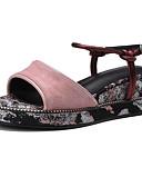 ieftine Tricou-Pentru femei Sandale Platformă Piele de Căprioară Vară Sandale Toc Platformă Negru / Curcubeu / Roz