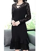 olcso Molett ruhák-Női Alap Extra méret Pamut Vékony Nadrág - Egyszínű Csipke / Kivágott / Kollázs Fekete / V-alakú / Sexy