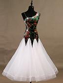 hesapli Göbek Dansı Giysileri-Balo Dansı Elbiseler Kadın's Performans Splandeks / Organze Tema / Baskı / Kristaller / Yapay Elmaslar Kolsuz Elbise