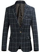 billige Herreskjorter-Herre Fest / Daglig Grunnleggende Normal Blazer, Ruter Skjortekrage Langermet Polyester Mørkegrå / Vin / Lyseblå 4XL / XXXXXL / XXXXXXL