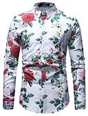 ieftine Tricou Bărbați-Bărbați Cămașă Bumbac Vintage / De Bază - Floral / Manșon Lung