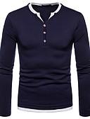 זול טישרטים לגופיות לגברים-צבע אחיד צווארון V טישרט - בגדי ריקוד גברים צבע טהור / שרוול ארוך