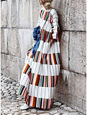 cheap Women's Dresses-Women's Plus Size Daily / Going out Boho Batwing Sleeve Maxi Loose Shift Dress - Rainbow Spring Cotton White M L XL