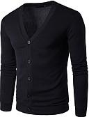 זול סוודרים וקרדיגנים לגברים-אחיד - קרדיגן שרוול ארוך צווארון V בגדי ריקוד גברים