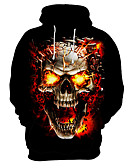 cheap Men's Belt-Men's Exaggerated Hoodie - 3D / Skull, Print